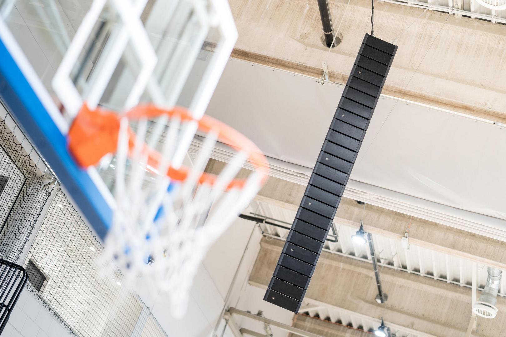 A Nemzeti Kosárlabda Arénában telepített hangsugárzók